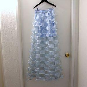 True Violet Organza Fringed Square Maxi Skirt